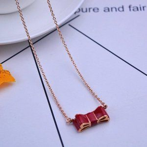 Kate Spade Red Enamel Bow Necklace